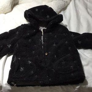 Zara 3-4 charcoal star hooded jacket worn once
